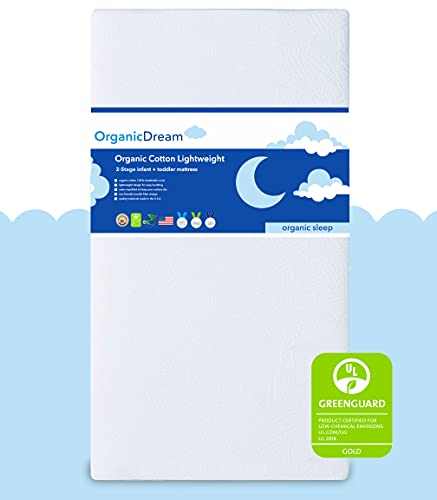 Organic Dream Crib and Toddler Mattress - 100% Breathable Proven to Reduce Suffocation Risk, 100% Washable Cover, Baby + Toddler Bed, GREENGUARD Certified, Hypoallergenic - Deluxe 5'- White