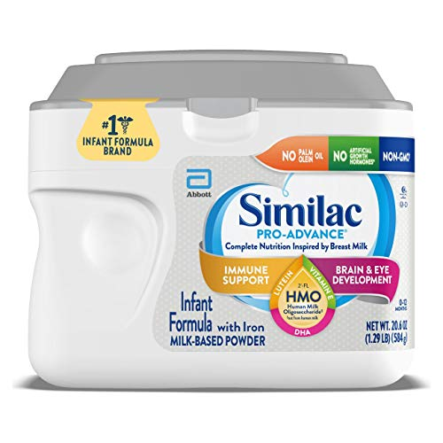 Similac Pro-Advance Infant Baby Formula with Iron with 2'-FL HMO for Immune Support, Non-GMO, Unflavored, 20.6 Oz