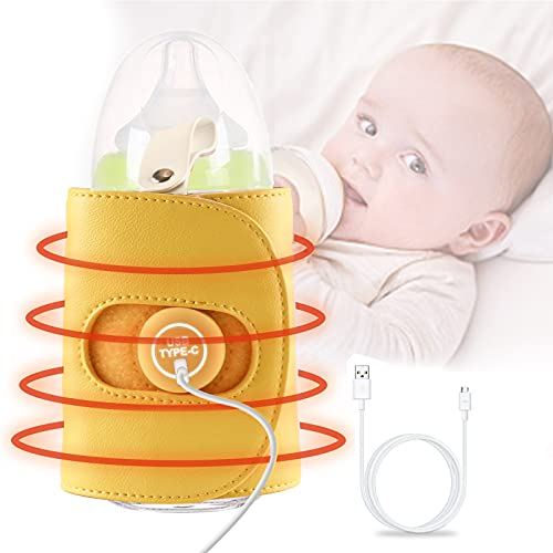 Baby Bottle Warmer USB Infant Feeding Bottle Heater Food Thermostat for Night Feeding, Outside and in Car Milk Heating Keeper Maintain Ideal Temperature for Breastmilk Portable Baby Milk Bottle Warmer