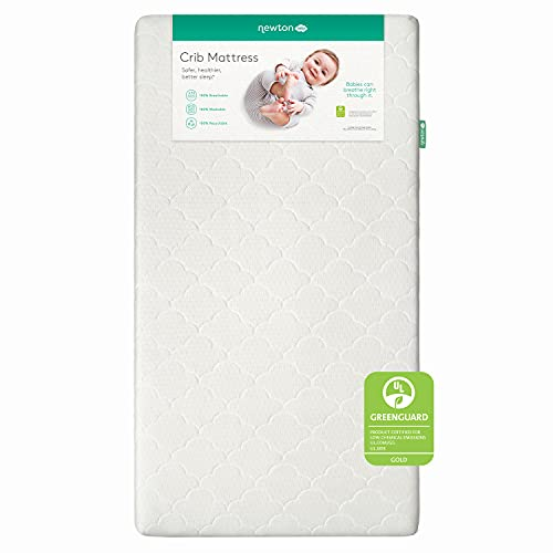 Newton Baby Crib Mattress and Toddler Bed - 100% Breathable Proven to Reduce Suffocation Risk, 100% Washable, 2-Stage, Non-Toxic Better Than Organic, Removable Cover - Deluxe 5.5' Thick- White