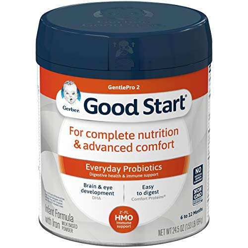 Gerber Good Start GentlePro (HMO) Non-GMO Powder Infant Formula, Stage 2, Gentle Baby Formula with Iron, 2'-FL HMO and Probiotics for Digestive Health and Immune System Support,245 Ounces (Pack of 4)