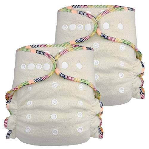 Fitted Cloth Diaper: Overnight Diaper with 2 Cotton Hemp Inserts, One Size with Snap Buttons (2-pack)