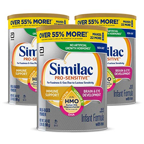 Similac Pro-Sensitive Infant Formula , Non-GMO, with Iron, 2'-FL HMO, for Immune Support, Milk-Based Powder, 2.18 Lb, Pack of 3 (One-Month Supply)