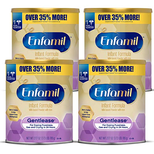 Enfamil Gentlease Infant Formula - Clinically Proven to reduce fussiness, gas, crying in 24 hours - Value Powder Can, 27.7 oz (Pack of 4)