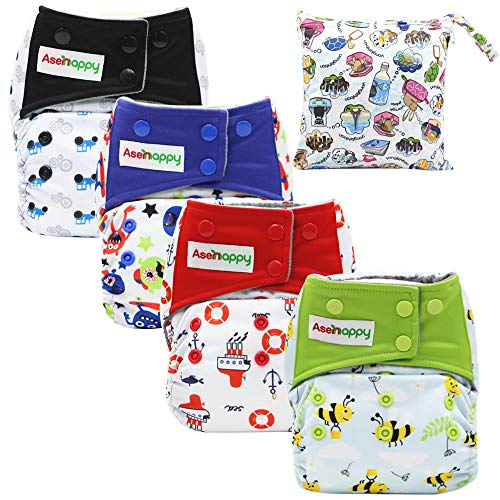 Asenappy Cloth Diaper 4 PCs Reusable Diapers Leak-proof Diaper Cover with Wet Bag Washable Baby Diaper.