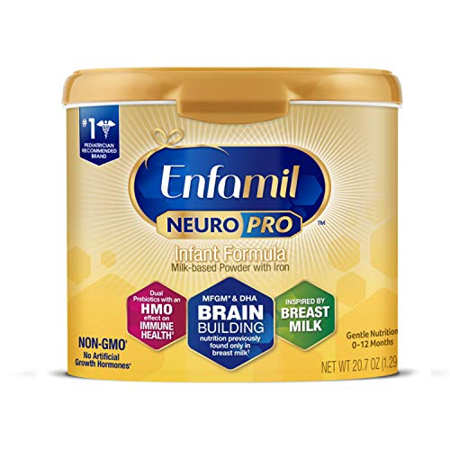 Enfamil NeuroPro Baby Formula, Brain and Immune Support with DHA, Iron and Prebiotics, Infant formula Inspired by Breast Milk, Non-GMO, Reusable Tub, 20.7 Oz