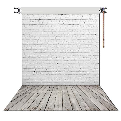White Brick Wall With Gray Wooden Floor Photography Vinyl Backdrop for professional photoshoot